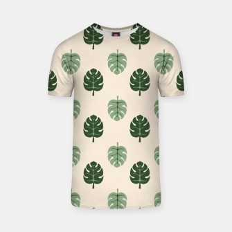 Thumbnail image of Tropical leaves Monstera deliciosa beige T-shirt, Live Heroes