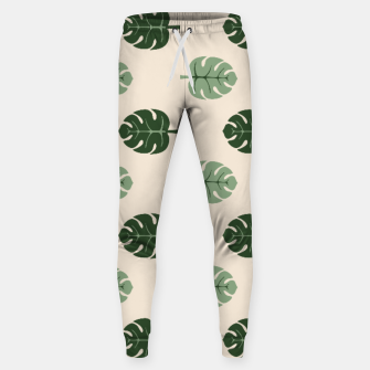 Thumbnail image of Tropical leaves Monstera deliciosa beige Cotton sweatpants, Live Heroes