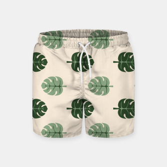 Thumbnail image of Tropical leaves Monstera deliciosa beige Swim Shorts, Live Heroes