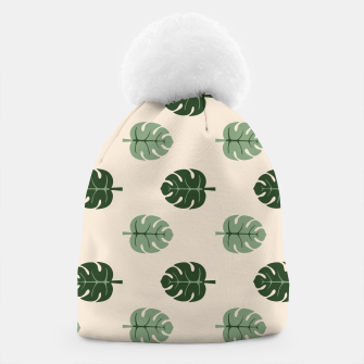 Thumbnail image of Tropical leaves Monstera deliciosa beige Beanie, Live Heroes