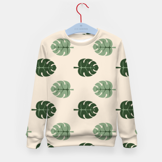 Thumbnail image of Tropical leaves Monstera deliciosa beige Kid's sweater, Live Heroes