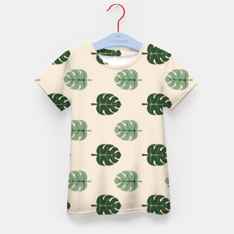 Thumbnail image of Tropical leaves Monstera deliciosa beige Kid's t-shirt, Live Heroes