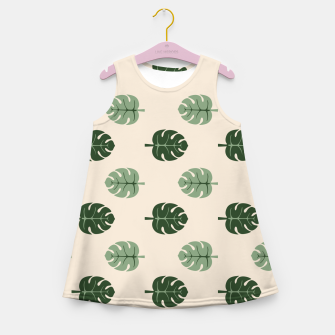 Thumbnail image of Tropical leaves Monstera deliciosa beige Girl's summer dress, Live Heroes