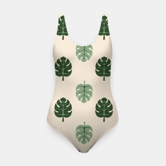 Thumbnail image of Tropical leaves Monstera deliciosa beige Swimsuit, Live Heroes