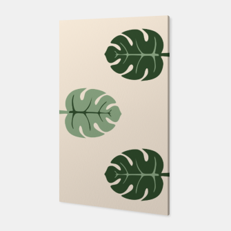 Thumbnail image of Tropical leaves Monstera deliciosa beige Canvas, Live Heroes