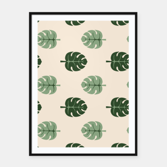 Thumbnail image of Tropical leaves Monstera deliciosa beige Framed poster, Live Heroes