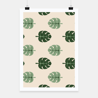 Thumbnail image of Tropical leaves Monstera deliciosa beige Poster, Live Heroes