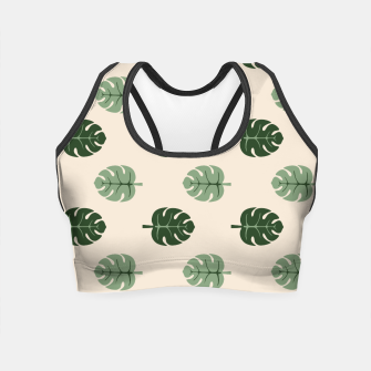 Thumbnail image of Tropical leaves Monstera deliciosa beige Crop Top, Live Heroes
