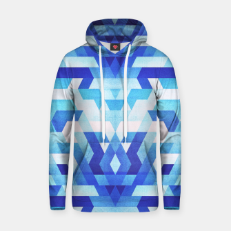 Miniatur Abstract geometric triangle pattern (futuristic future symmetry) in ice blue Cotton hoodie, Live Heroes