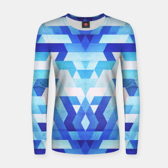 Miniatur Abstract geometric triangle pattern (futuristic future symmetry) in ice blue Woman cotton sweater, Live Heroes