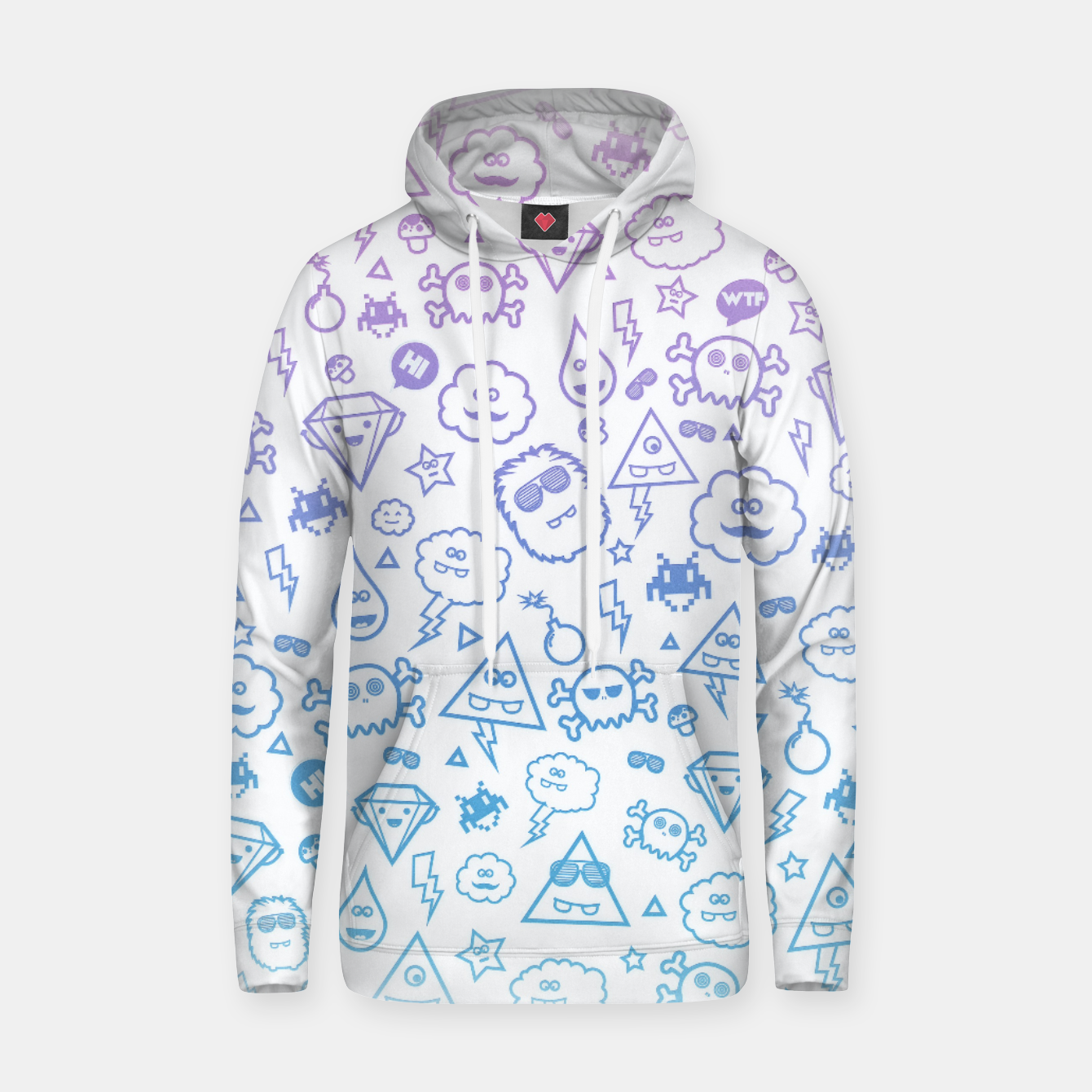 Image de Crazy and Cute Monster Patter in blue pink Cotton hoodie - Live Heroes