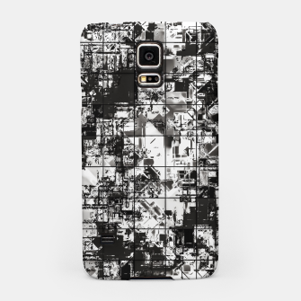 Miniaturka psychedelic geometric square pattern abstract background in black and white Samsung Case, Live Heroes