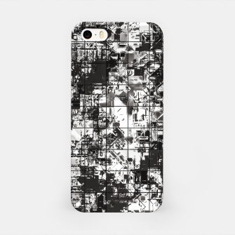 Miniaturka psychedelic geometric square pattern abstract background in black and white iPhone Case, Live Heroes
