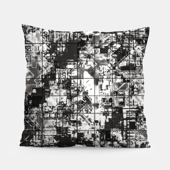 Miniaturka psychedelic geometric square pattern abstract background in black and white Pillow, Live Heroes