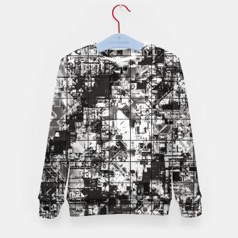 Miniaturka psychedelic geometric square pattern abstract background in black and white Kid's sweater, Live Heroes