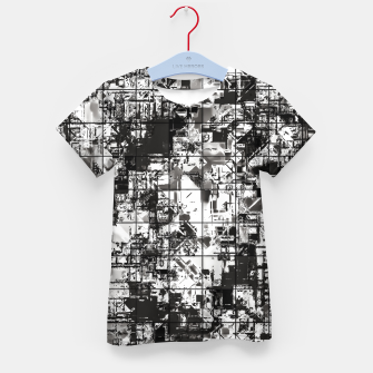 Miniaturka psychedelic geometric square pattern abstract background in black and white Kid's t-shirt, Live Heroes