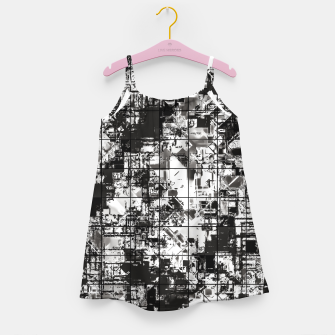 Miniaturka psychedelic geometric square pattern abstract background in black and white Girl's dress, Live Heroes