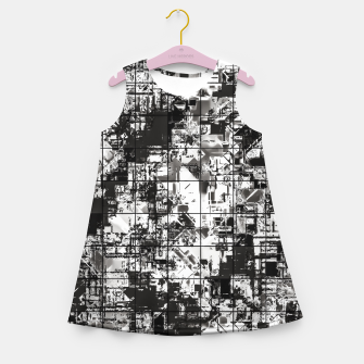 Miniaturka psychedelic geometric square pattern abstract background in black and white Girl's summer dress, Live Heroes
