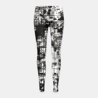 Miniaturka psychedelic geometric square pattern abstract background in black and white Girl's leggings, Live Heroes