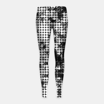 Miniaturka psychedelic circle pattern painting abstract background in black and white Girl's leggings, Live Heroes