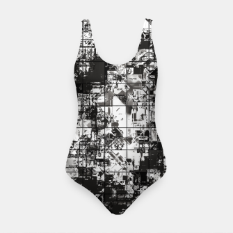Miniaturka psychedelic geometric square pattern abstract background in black and white Swimsuit, Live Heroes