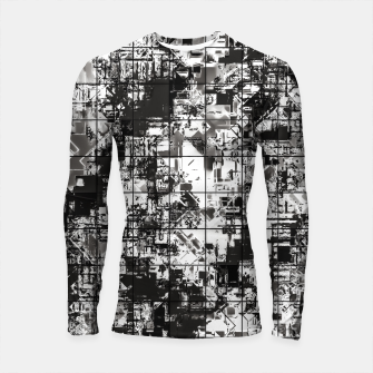 Miniaturka psychedelic geometric square pattern abstract background in black and white Longsleeve rashguard , Live Heroes