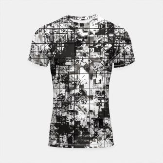 Miniaturka psychedelic geometric square pattern abstract background in black and white Shortsleeve rashguard, Live Heroes