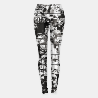 Miniaturka psychedelic geometric square pattern abstract background in black and white Leggings, Live Heroes