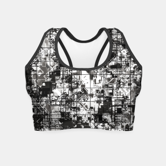 Miniaturka psychedelic geometric square pattern abstract background in black and white Crop Top, Live Heroes