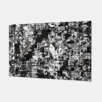 Miniaturka psychedelic geometric square pattern abstract background in black and white Canvas, Live Heroes