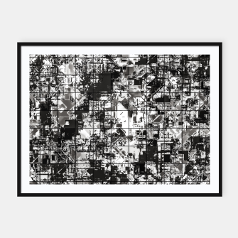 Miniaturka psychedelic geometric square pattern abstract background in black and white Framed poster, Live Heroes
