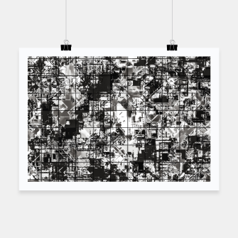 Miniaturka psychedelic geometric square pattern abstract background in black and white Poster, Live Heroes