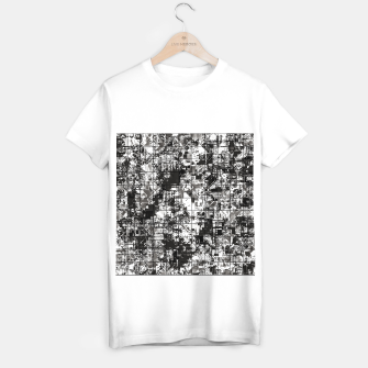 Miniaturka psychedelic geometric square pattern abstract background in black and white T-shirt regular, Live Heroes