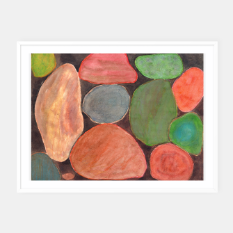 Miniatur . Lovely colorful Stones on dark Background  Framed poster, Live Heroes