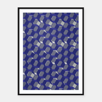Thumbnail image of 3D Futuristic Honeycomb BG VII Framed poster, Live Heroes