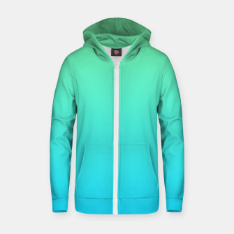 Miniaturka Great Green to Sky Blue Ambient Cotton zip up hoodie, Live Heroes