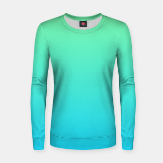 Miniaturka Great Green to Sky Blue Ambient Woman cotton sweater, Live Heroes