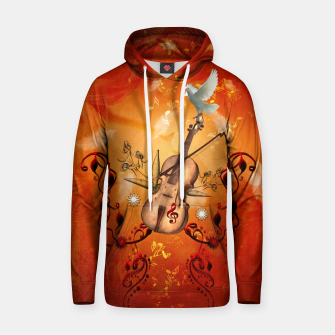 Thumbnail image of Violin with violin bow and dove Cotton hoodie, Live Heroes