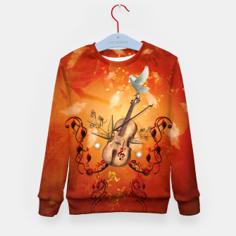 Thumbnail image of Violin with violin bow and dove Kid's sweater, Live Heroes