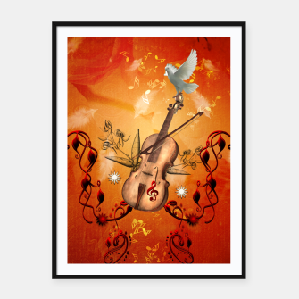 Miniatur Violin with violin bow and dove Framed poster, Live Heroes