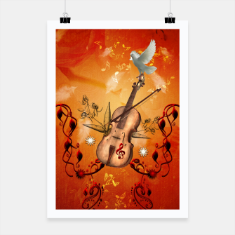 Miniatur Violin with violin bow and dove Poster, Live Heroes