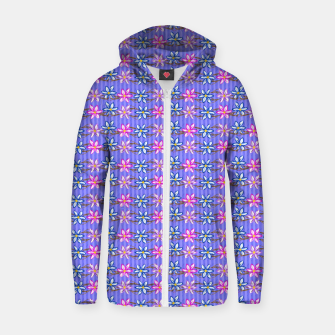 Thumbnail image of Ultra Violet Stripes with Flowers Cotton zip up hoodie, Live Heroes