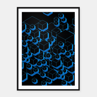 Thumbnail image of 3D Futuristic Cubes III Framed poster, Live Heroes
