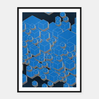 Thumbnail image of 3D Futuristic Cubes VII Framed poster, Live Heroes