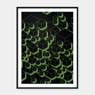 Thumbnail image of 3D Futuristic Cubes XI Framed poster, Live Heroes