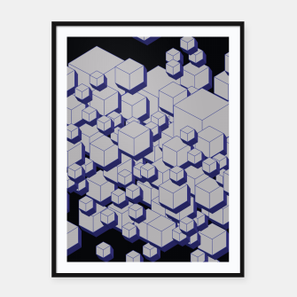 Thumbnail image of 3D Futuristic Cubes XV Framed poster, Live Heroes