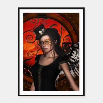Miniatur Wonderful steampunk lady with wings Framed poster, Live Heroes