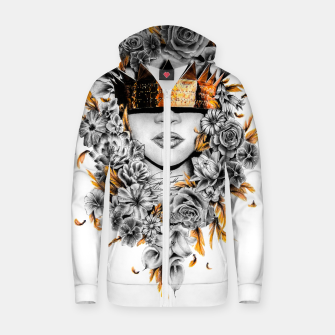 Thumbnail image of Golden Flower Crown  Cotton zip up hoodie, Live Heroes
