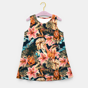 Miniaturka Wild animals in the dark of the jungle 2 Vestido de verano para niñas, Live Heroes