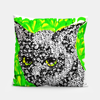 Thumbnail image of Kaida black cat pattern tattoo flower power Pillow, Live Heroes